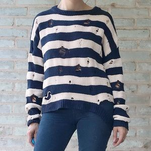 Aqua Destroyed Sweater Navy White Striped Chenille